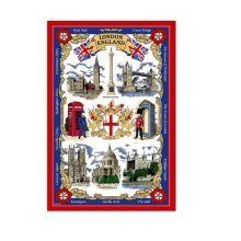 London Tea Towel Souvenir Gift Big Ben Nelson Tower Bridge Red Bus Taxi England