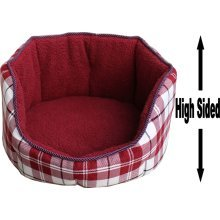 """Dog Bed Thick Red Chequered Material Fleece 26"""""""