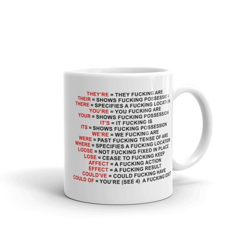 Grammar Expletive Ceramic Mug, White, 11 oz