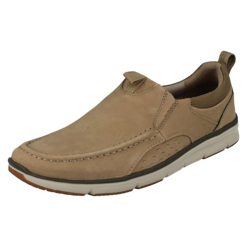 Mens Clarks Moccasin Style Casual Slip On Shoes Orson Row - G Fit