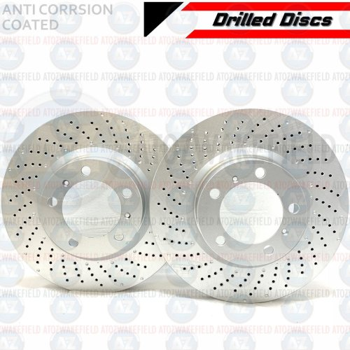 For Porsche 911 997 3.6 Carrera 4 Front Left Right Drilled Brake Discs Pair 330m