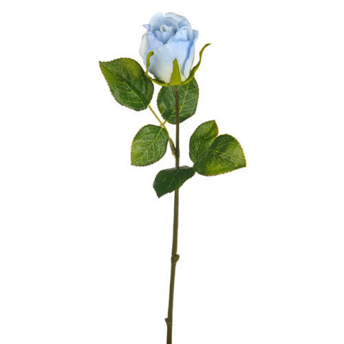 Artificial Skye Rose Bud Light Blue - 42cm Faux Flower Stems