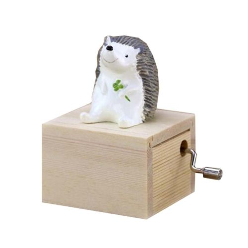 Mini Hand Crank Music Box Animal Music Box Height Approx 3.1 Inch ?¨Hedgehog??