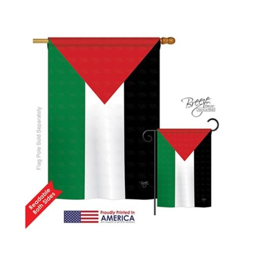 Breeze Decor 08228 Palestine 2-Sided Vertical Impression House Flag - 28 x 40 in.
