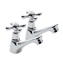 Chrome Plated Brass Double Bathroom Sink Separate Taps Set - Hot + Cold Water
