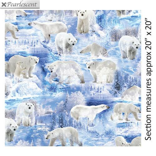 Fat Quarter Winter's Pearl Winter Bears Polar Bears Cotton Quilting Fabric