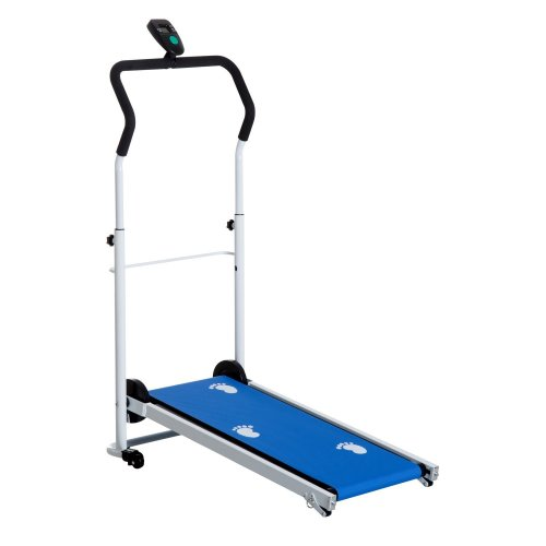 Homcom Folding Manual Treadmill with LCD and 2 Incline Levels - Blue