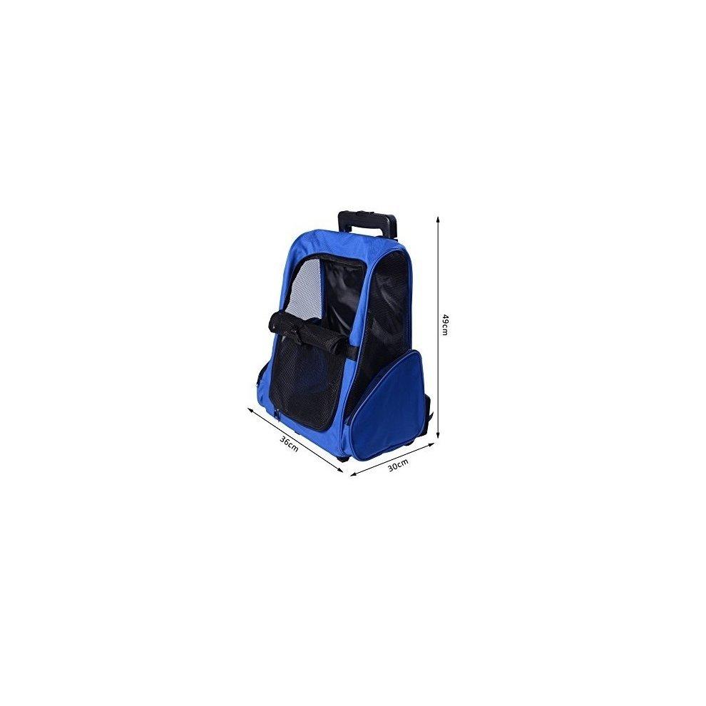 bdb36d21cae2 ... Pawhut Pet Travel Backpack Bag Cat Puppy Dog Carrier W  Trolley - 1 ...