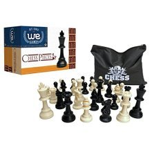 Best Value Staunton tournament chess pieces - black and cream plastic chessmen with 3.75 inch king