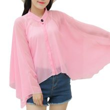 Sun Protective Clothing - Summer Chiffon Shawl Beach Coats Jackets-Pink