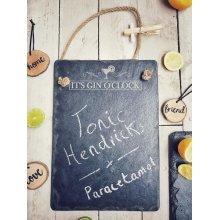 """It's Gin O'Clock"" Engraved Memo Chalk Slate Board - 25x35cm"