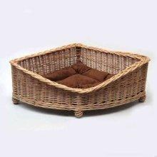 Luxury Wicker Dog Pet Corner Basket Small