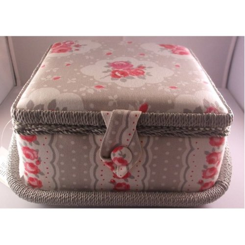HobbyGift Small Floral Sewing Basket Floral on Grey
