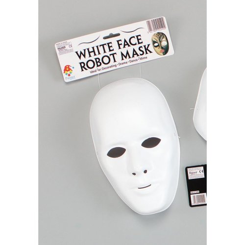 Mens Male White Face Mask -  carnival mask white male face paint robot