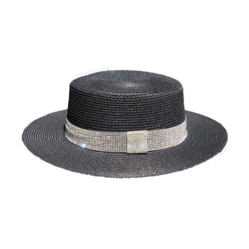 Womens Sun Straw Hat Panama Fedora Hat Girls Sun Protection Wide Brim Visor Caps, Black