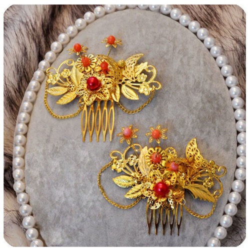 Set Of 2 Charming Traditional Chinese Wedding Exquisite Hair Combs Accessory