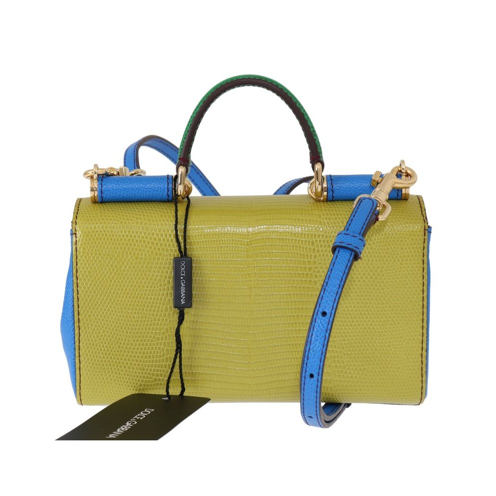 8f186358ed Dolce & Gabbana Green Yellow Leather Shoulder Bag on OnBuy