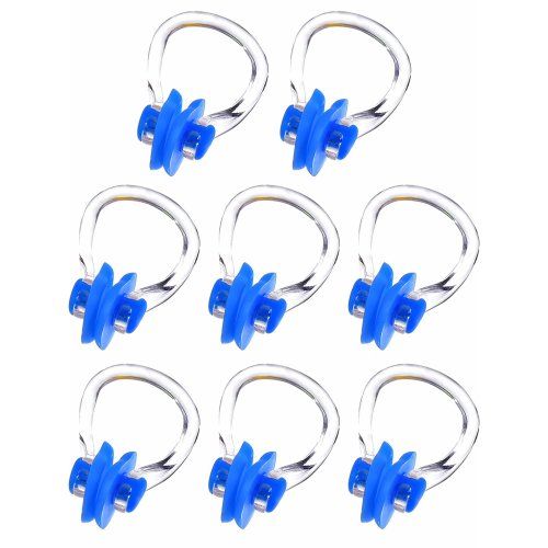 Hicarer 8 Pieces Swimming Nose Clip Silicone Swim Training Protector Plug (Blue)