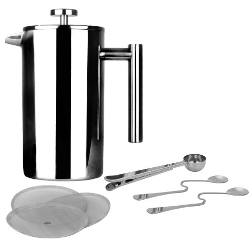 French Press Cafetiere | Stainless Steel Coffee Press Maker | Free Extra Filters/Measuring Spoons/Bag Clip | Double Walled Insulation | 7pc Coffee...