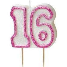 Age 16 Birthday Candle Pink Glitz