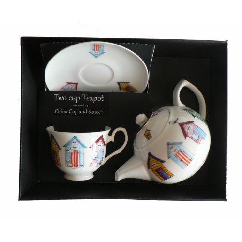 Beach Hut Teapot cup & saucer set. Porcelain teapot,china cup & saucer in box
