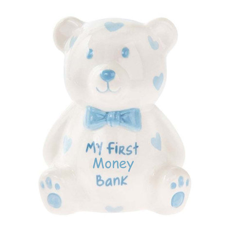 'My First Teddy Bank' MINI Money Box White with Hearts - Blue