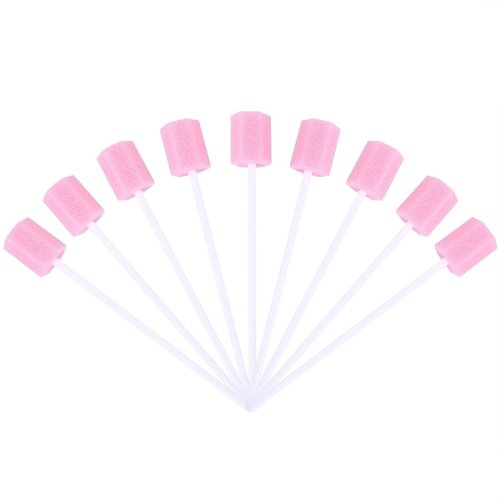 ROSENICE Disposable Oral Care Sponge Swab Tooth Cleaning Mouth Care Swabs 100pcs (Pink)