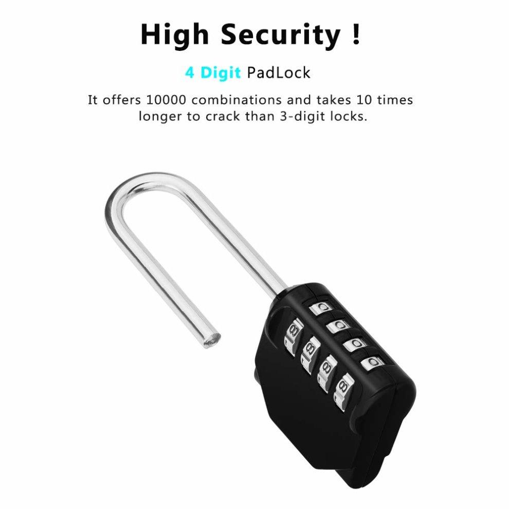 Long Shackle Padlock Set, 4 Digit Combination Lock, Resettable Weatherproof  Combo Lock for School, Sports, Gym & Employee Locker, Outdoor, Fence,