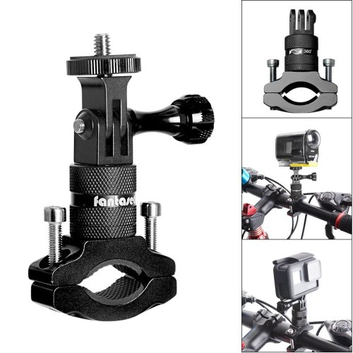 2in1 Action Camera Bike Mount, Aluminum Bike Handlebar Adapter 360 Degree Rotatable Bicycle Rack Mount Compatible for Gopro Hero 7/6/5/4/3+/3/2/...