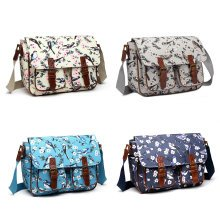 Miss Lulu School Bags Cross Body Messenger Shoulder Satchel Bird Flower