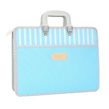 Paper Clip Multilayer File Holder Portable Canvas Information Bag-Blue