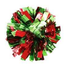 Team Sports Cheerleading Poms Match Pom Plastic Ring Red+Green 2PCS