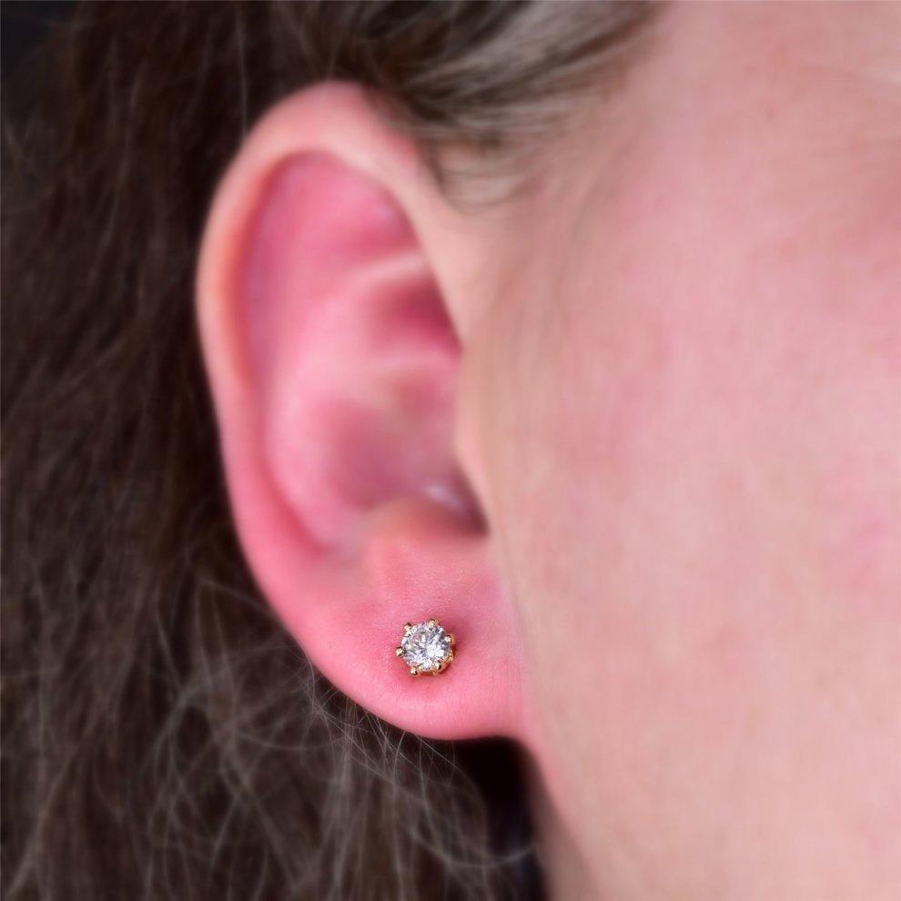 6ea2c9cc802424 ... Blue Diamond Club - 18ct Gold Filled Stud Earrings Very Small Dainty  Cute 4mm White CZ ...