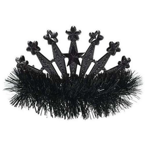 Amscan 395896.10 Star Tinsel Tiara, Jet Black - Pack of 9