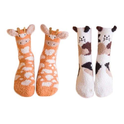 2 Pairs Adult Floor Socks Sleep Socks Winter Casual Socks #17