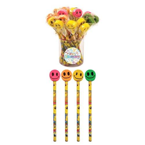 24 Smiley Pencils with Eraser Tops