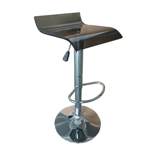 Homcom Acrylic Bar Stool Adjustable Swivel Seat Gas Lift Chrome (Black)