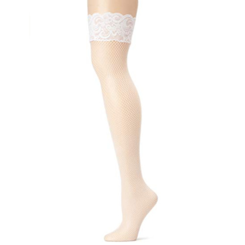 Leg Avenue Leg Ave Women'S Lycra Fishnet Thigh Highs With Backseam And Silicone Lace Top, White, One Size