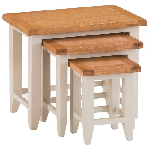 St. Ives Truffle Painted Oak Nest of 3 Tables