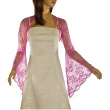 Grace & Flair - Ladies Candy Pink Lace Bell Sleeve Bolero Size 6-30
