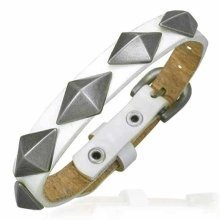 Urban Male Genuine White Leather Studded Buckle Bracelet