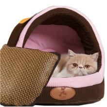 Skin Soft and Warm Pet House Dog Cat Pet Bed Puppy sofa, Brown 39CM
