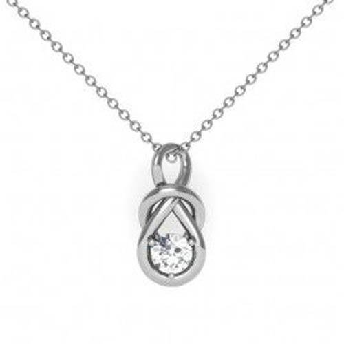 Necklace Pendant Round Solitaire Diamond White Gold 14K 1.00 Carats Jewelry