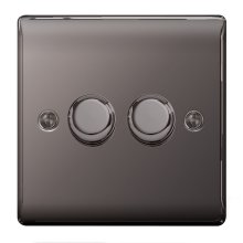 BG Nexus Metal 2 Gang 2 Way Push Dimmer 400W Black Nickel