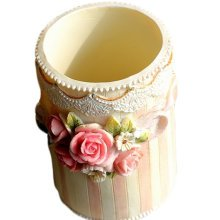 Rural Roses Painted Resin Makeup Brush With Receive Tube Style (One)