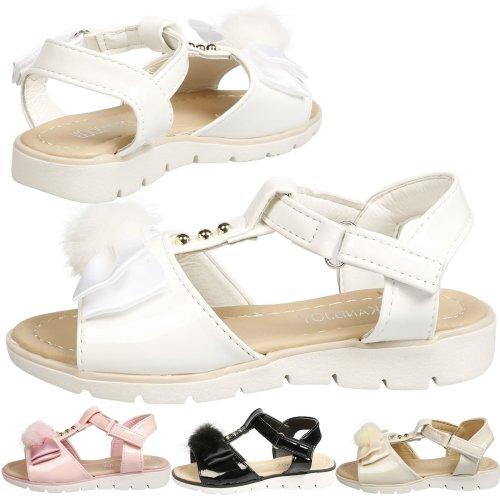 Makayla Girls Kids Toddlers Pompom T Bar Satin Bow Sandals Open Toe Summer Shoes