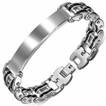 Urban Male Two Colour Stainless Steel Bike Chain ID Plate Bracelet