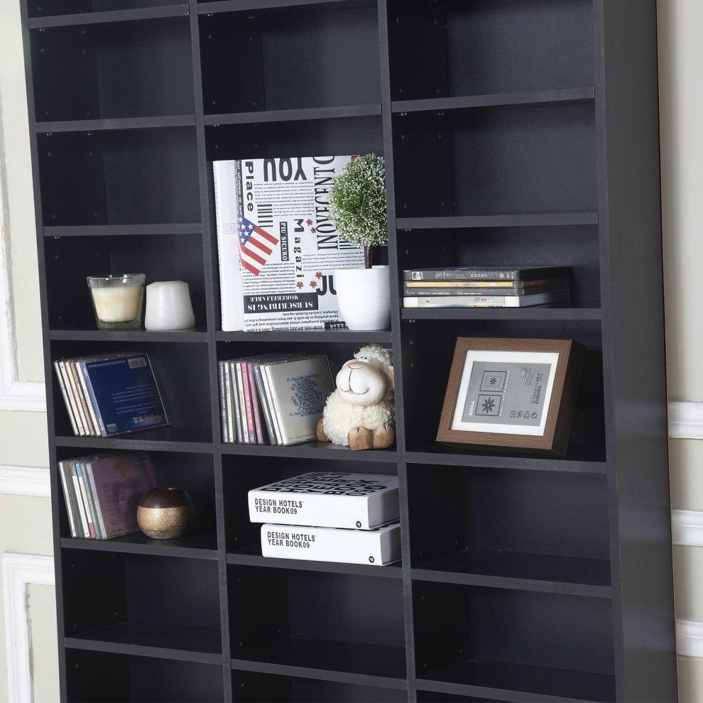 Homcom Cd Dvd Media Storage Wooden Shelves Bookcase Display Shelving Unit Adjule 1