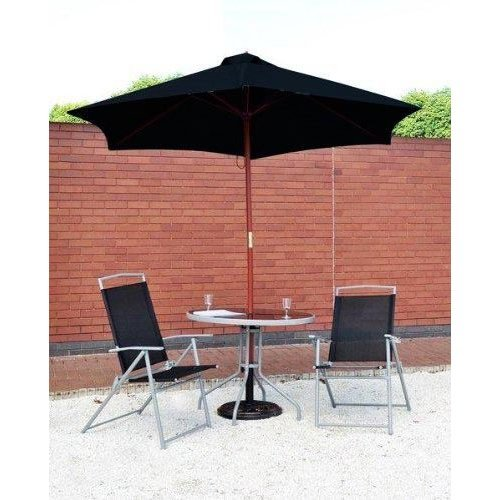 2.4M Garden Patio Parasol Umbrella Large Wooden Garden Furniture Black