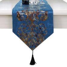 Minimalist Style Fashionable Velvet Gilding Decor Table Runner(13*71inch),Blue